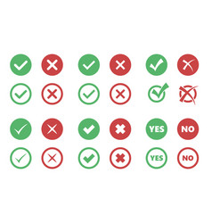 tick and cross icons check box signs vector image
