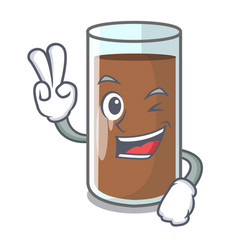Two finger chocolate milk the containing nutrition vector