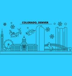united states denver winter holidays skyline vector image