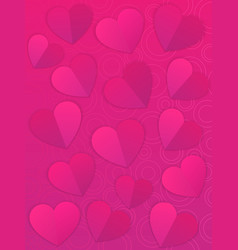 Valentines day background card with hearts vector
