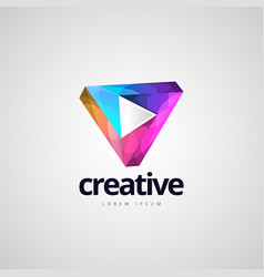 vibrant colorful infinite triangle logo design vector image