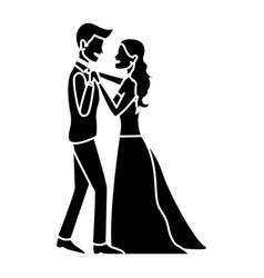 Wedding dancing couple romantic celebration vector