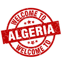 welcome to algeria red stamp vector image
