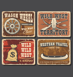 Wild west vintage posters and cards vector