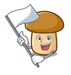 With flag porcini mushroom mascot cartoon vector