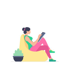 Woman is working at his tablet vector