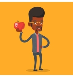 Young man holding apple vector