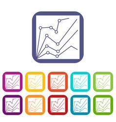 financial statistics icons set vector image