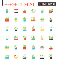 flat icons set of house plants and flowers vector image vector image