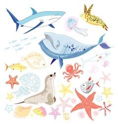 graphic marine animals vector image vector image