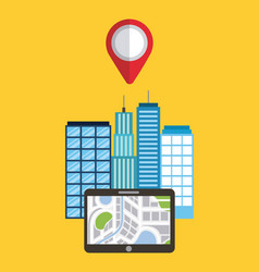 navigation device app city buildings pointer map vector image