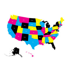 political map of usa united states of america in vector image