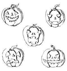 Pumpkin for Halloween Pencil drawing by hand vector image