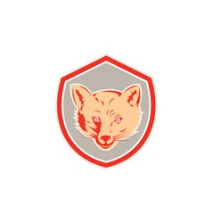 Red Fox Head Front Shield Retro vector image vector image