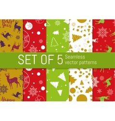 Set of 5 Christmas and New Year seamless pattern vector image