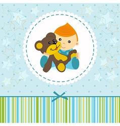 baby boy keep a teddy bear vector image