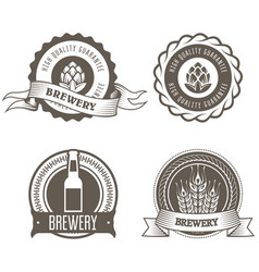 Beer and brewery emblems with hop buds vector
