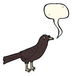 cartoon crow with speech bubble vector image vector image