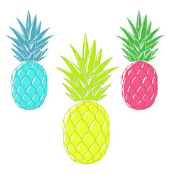colorful cartoon pineapples vector image