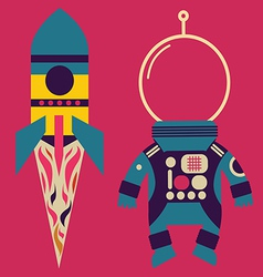 Rocket and astronaut costume vector image vector image