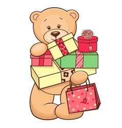 teddy with presents vector image