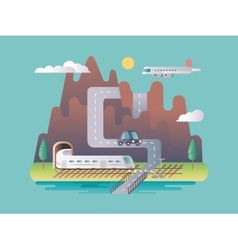 Transport infrastructure design flat vector image