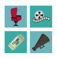 white background with cinema elements in frames as vector image
