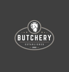 Butchery shop logo template object for vector
