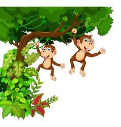 happy monkey cartoon hinging vector image vector image