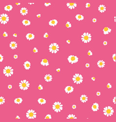 pink yellow daisies ditsy seamless pattern vector image vector image