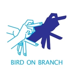 Shadow Hand Puppet Bird on Branch vector image vector image