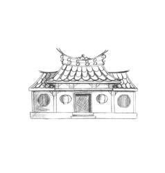 Sketch of Taiwan temple Asia vector image vector image