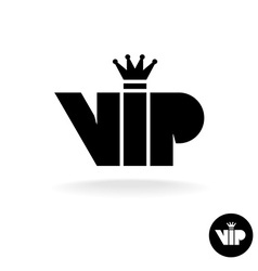 VIP letters abbreviation simple black silhouette vector image vector image