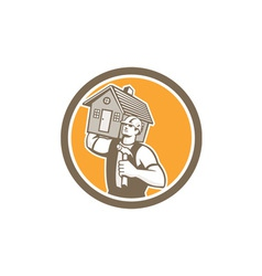 Builder Carpenter Carrying House Hammer Retro vector image vector image