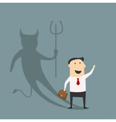 Cartoon businessman with true devil personality vector image
