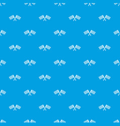 crossed chequered flags pattern seamless blue vector image vector image