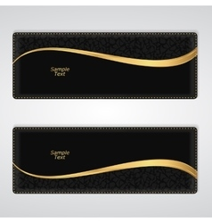 Elegant black leather horizontal banner with a vector image vector image