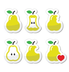 Pear pear core bitten half icons vector image