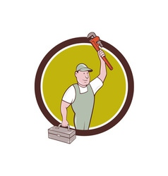 Plumber Toolbox Raising Monkey Wrench Circle vector image vector image