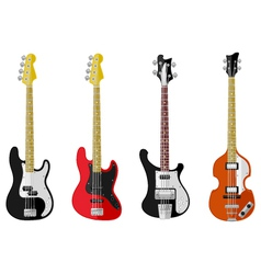 Set of isolated vintage bass guitars vector image vector image