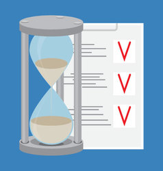 Time management to-do list and hourglass vector
