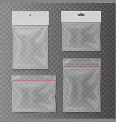 transparent plastic pocket bags set vector image