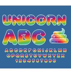 Unicorn abc rainbow font multicolored letters vector