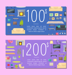 100 and 200 dollars coupon set vector
