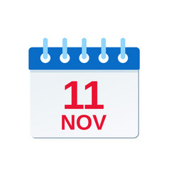 11 november calendar icon veterans day vector