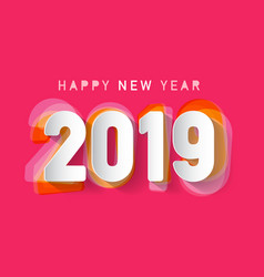 2019 happy new year paper cut design vector image