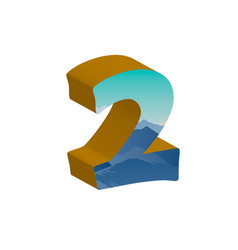 3d number two of 3d font vector image