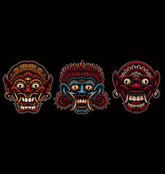 A set colorful traditional indonesian masks vector