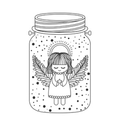 Angel inside mason jar vector
