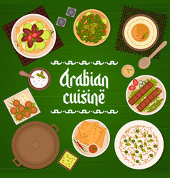 Arabian food meals dishes menu cover template vector